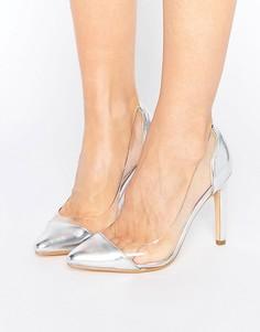 Туфли на каблуке с прозрачной вставкой Truffle Collection - Серебряный