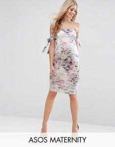 Платье миди с цветочным принтом и бантами ASOS Maternity - Мульти