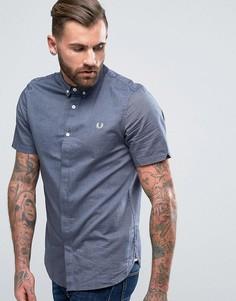 Темно-синяя оксфордская рубашка с короткими рукавами Fred Perry - Темно-синий