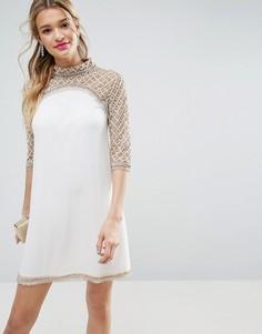 Цельнокройное платье мини с пайетками на воротнике ASOS SALON - Кремовый