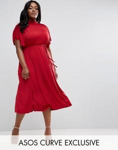 Платье миди с драпировкой и поясом ASOS CURVE - Красный