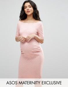 Кружевное платье с укороченными рукавами ASOS Maternity PETITE - Розовый