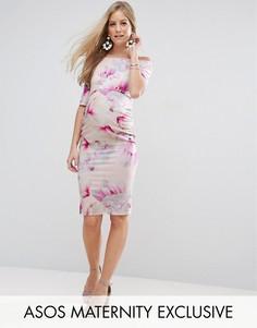 Платье с розовым цветочным принтом, широким вырезом и рукавами до локтя ASOS Maternity - Мульти