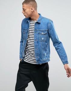 Выбеленная джинсовая куртка с потертостями и молниями по бокам Kubban - Синий