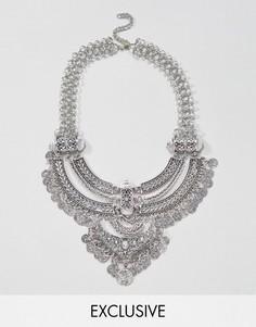 Броское многослойное ожерелье с монетами Reclaimed Vintage Inspired - Серебряный