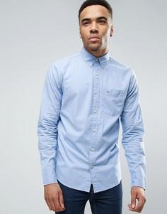 Голубая узкая рубашка из эластичного поплина с логотипом-чайкой Hollister - Синий