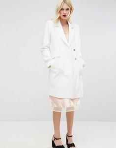 Креповое узкое пальто с карманами ASOS - Белый