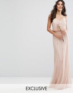 Платье макси с сетчатыми вставками на юбке и отделкой Amelia Rose - Розовый
