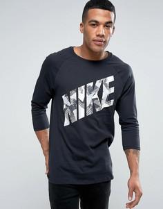 Черная футболка с логотипом и рукавами реглан длиной 3/4 Nike 834715-010 - Черный