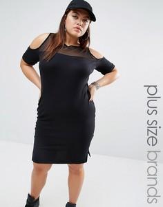 Платье в полоску с сетчатой вставкой и открытыми плечами One One Three - Мульти