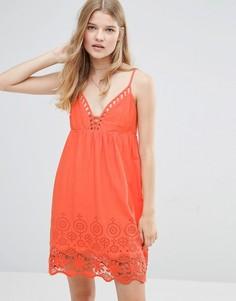 Платье с отделкой кроше Pepe Jeans Nati - Оранжевый