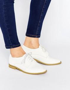 Белые туфли на плоской подошве и шнуровке Lost Ink Hannah - Белый