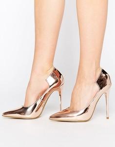 Розово-золотистые туфли-лодочки с фигурным задником Lost Ink Freya - Золотой 8f134dd6d02