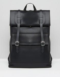 Строгий рюкзак из искусственной кожи с клапаном ASOS - Черный