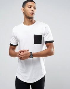 Длинная футболка с карманом и манжетами контрастного цвета Only & Sons - Белый