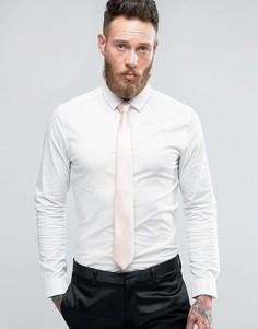 Белая зауженная рубашка и розовый галстук ASOS Wedding - СКИДКА - Белый