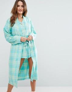 Тканый халат в клетку Chelsea Peers - Зеленый