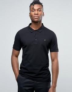 Узкое черное поло из ткани пике Farah Blaney - Черный