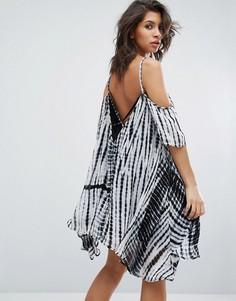 Платье с открытыми плечами и принтом тай-дай Religion - Белый