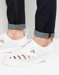 Туфли с 3 люверсами и вырезами Dr Martens - Белый