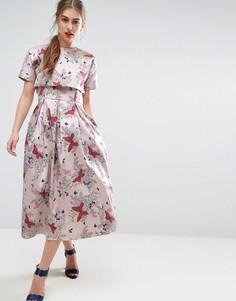 Жаккардовое платье миди для выпускного с кроп-топом ASOS SALON - Мульти