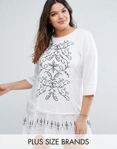 Платье с вышивкой Diya Plus - Белый
