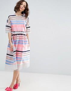 Свободное платье с флуоресцентными полосками ASOS SALON - Мульти