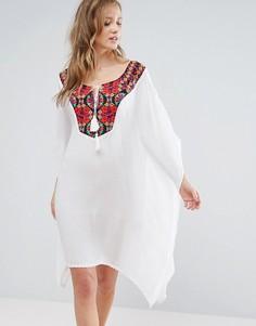 Пляжное платье мини с вышивкой Anmol - Белый