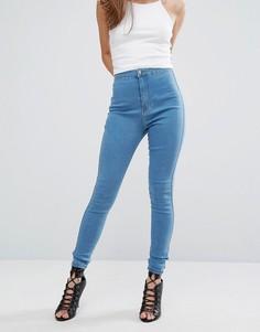 Суперэластичные зауженные джинсы с высокой талией Missguided Vice - Синий