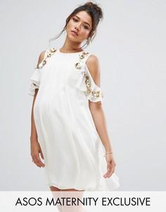 Платье мини с открытыми плечами и отделкой ASOS Maternity - Кремовый