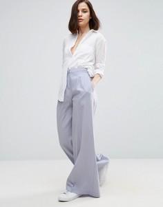 Широкие льняные брюки ASOS - Серебряный