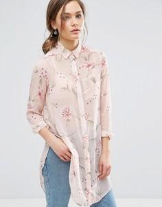 Удлиненная рубашка с цветочным принтом New Look - Розовый