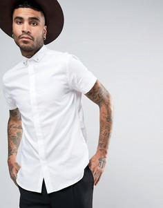 Зауженная рубашка с коротким рукавом и черепами на воротнике Noose & Monkey - Белый