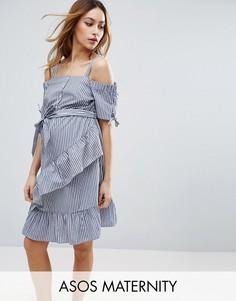 Платье в полоску с открытыми плечами ASOS Maternity - Синий