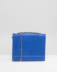 Кожаная квадратная сумка с ремешком-цепочкой Urbancode - Синий