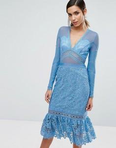 Кружевное платье миди с оборкой на подоле Three Floor - Синий