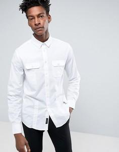 Строгая рубашка узкого кроя в стиле милитари Religion - Белый