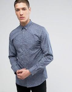 Узкая рубашка с принтом Jack & Jones Premium - Синий