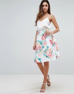 Расклешенная юбка с цветочным принтом Jessica Wright - Белый