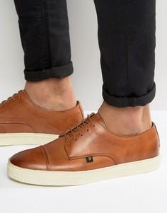 Кожаные кроссовки со вставкой на носке Farah Dawson - Рыжий