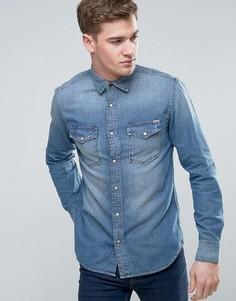 Джинсовая рубашка в стиле вестерн Jack & Jones Vintage - Синий