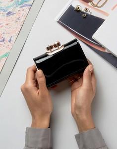Лакированный небольшой кошелек с искусственным жемчугом на застежке Ted Baker - Черный