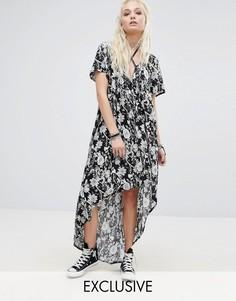 Асимметричное платье с цветочным принтом и поясом-лентой Milk It - Фиолетовый