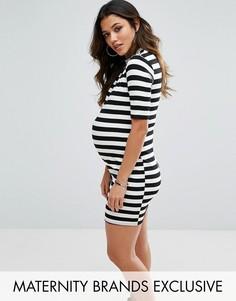 Платье в полоску с высокой горловиной Missguided Maternity - Бежевый