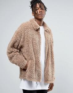 Бежевая куртка Харрингтон из искусственного меха ASOS - Бежевый