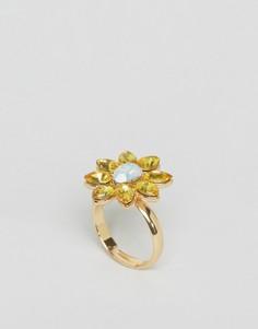 Броское кольцо с цветочной отделкой и камнями Johnny Loves Rosie - Золотой