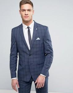 Узкий пиджак в клетку Burton Menswear - Синий