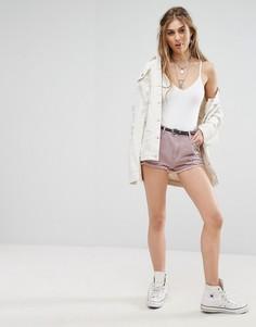 Джинсовые шорты с завышенной талией и рваной отделкой Missguided - Фиолетовый