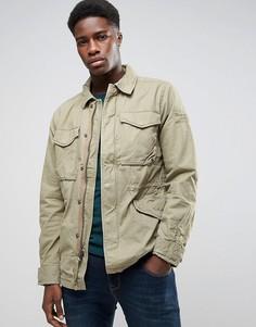 Саржевая куртка цвета хаки Abercrombie & Fitch - Зеленый