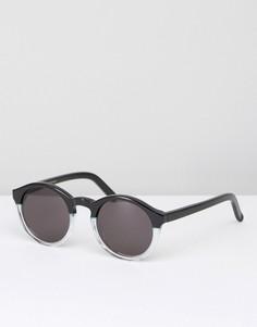Солнцезащитные очки в круглой черной и прозрачной оправе Monokel Barstow - Черный